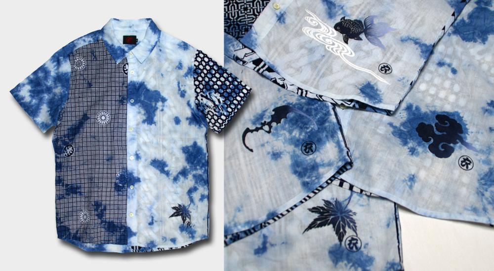 半袖シャツ-ムラ藍