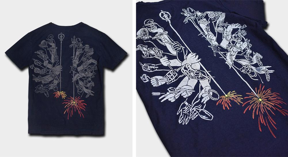 インディゴ千手観音線香花火Tシャツ
