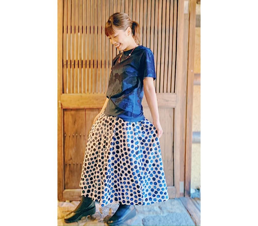 妖怪の夏祭り半袖Tシャツ手描き水玉スカート