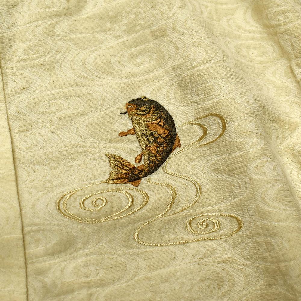観世流水スタンド衿長袖シャツ鯉刺繍