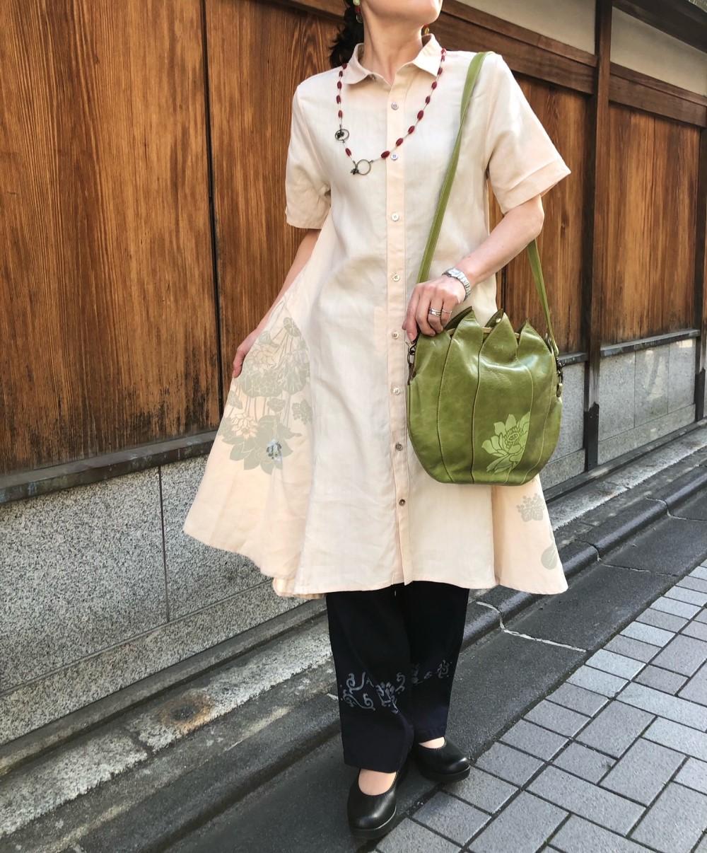 ふわり裾舞花ワンピースインディゴタックパンツ -花唐草- (2)