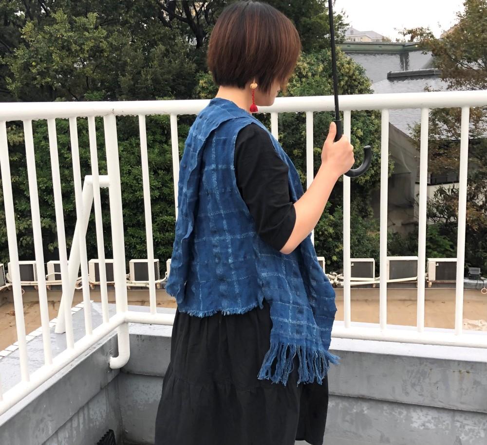 徳島阿波藍機織り染色 (1)