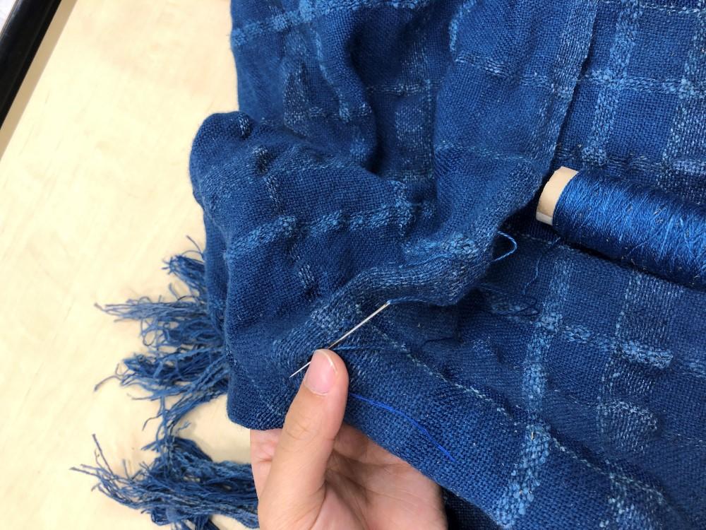 徳島阿波藍機織り染色 (5)