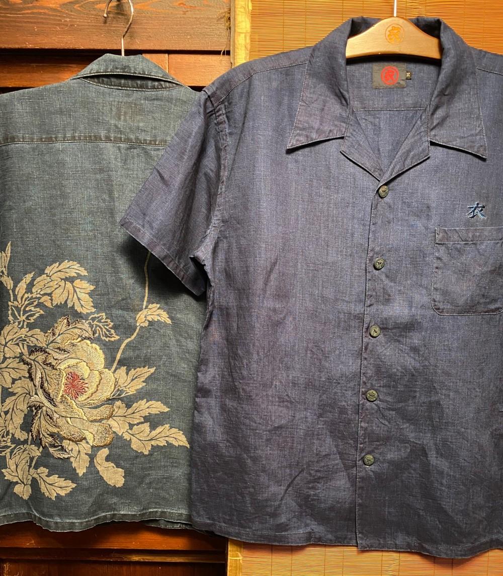 花時乱芥子オープンカラーシャツ